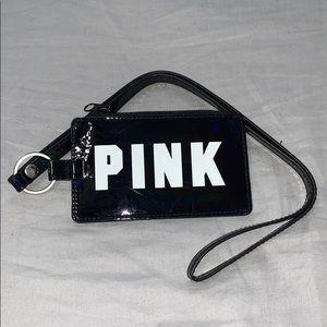 Shiny Black PINK Lanyard w/ ID and card slots